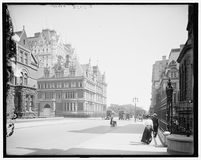 Looking up Fifth Avenue, taken sometime after 1907.  The Plaza peaks over the mansion of Cornelius Vanderbilt. (Courtesy Library of Congress)