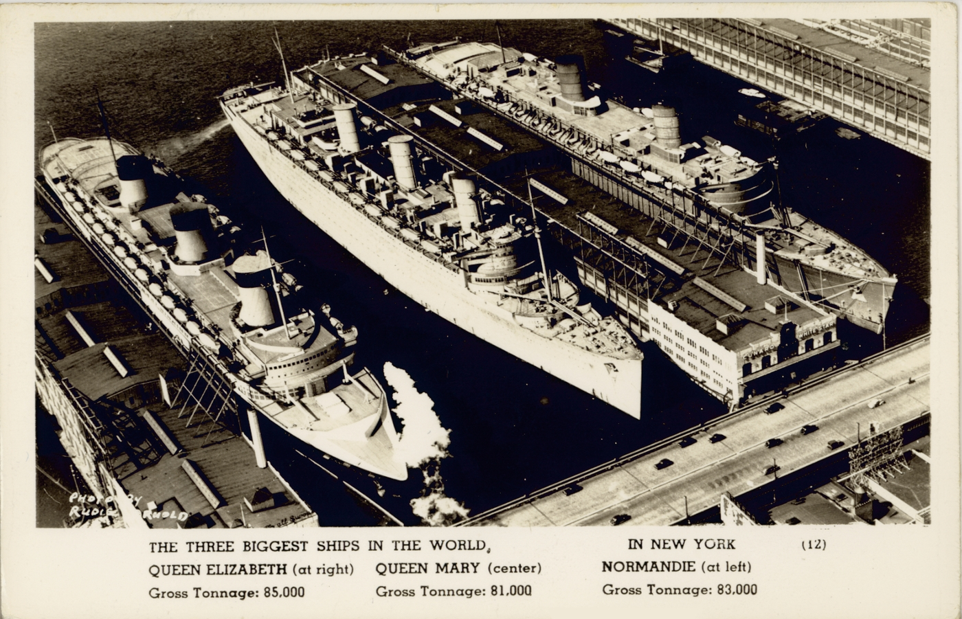 The three largest ships in the world, all docked in mid-Manhattan, not Chelsea Piers because it could not accommodate their size (Courtesy State Library of New South Wales)