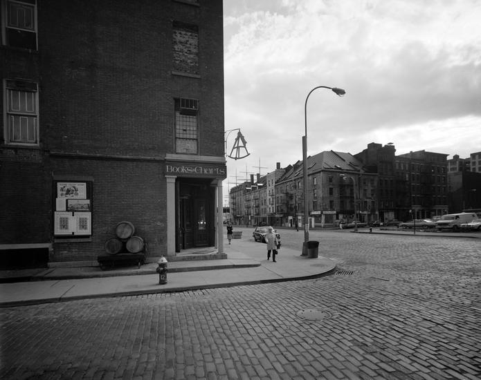 Fulton and Water streets with Schermerhorn Row in the distance. Photo by Edmund V Gillon (courtesy the Museum of the City of New York)