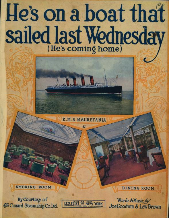 A jaunty song written for the Cunard ship Mauretania, sister ship of the Lusitania.