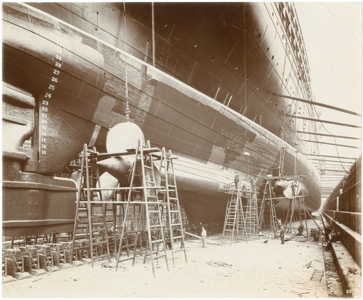 Side view of Lusitania showing the launching cradle and the propellers