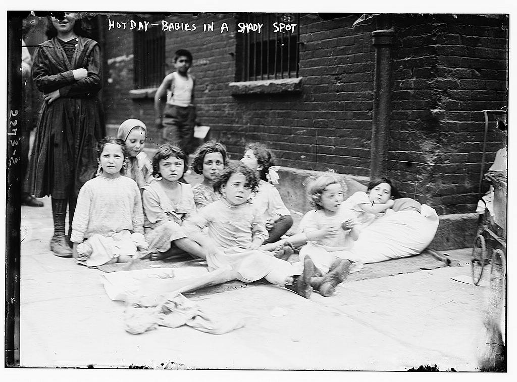 """Babies in a shady spot"" Picture taken between 1910-1915"