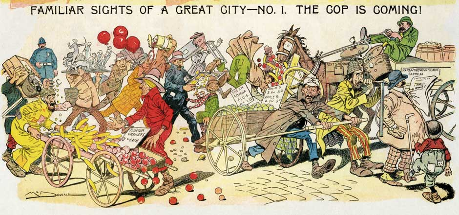 """Familiar Sights of a Great City—No. 1 The Cop is Coming!"" by Walt McDougall, New York Journal, Sunday, January 9, 1898 via New York Review of Books"