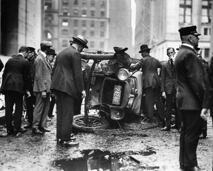 16 Sep 1920, Manhattan, New York, New York, USA --- New York, NY: Demolished automobile at sene of Wall Street Explosion of September 16th, 1920. Photograph. BPA2# 4804 --- Image by © Bettmann/CORBIS