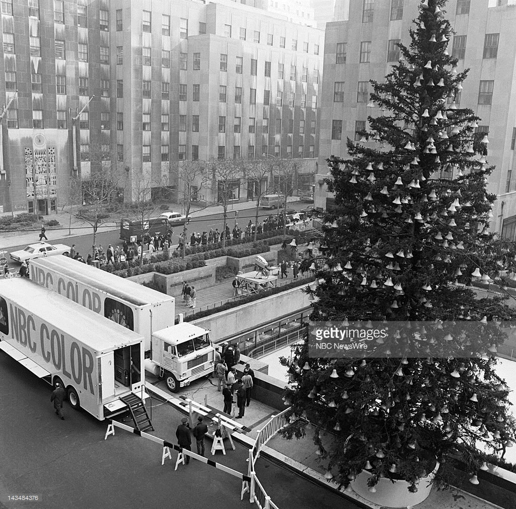 CHRISTMAS AT ROCKEFELLER CENTER -- Aired 12/9/66 -- Pictured: NBC Color Mobile Units at the Christmas Tree Lighting in Rockefeller Center, New York City, on December 9, 1966 -- Photo by: NBC NewsWire