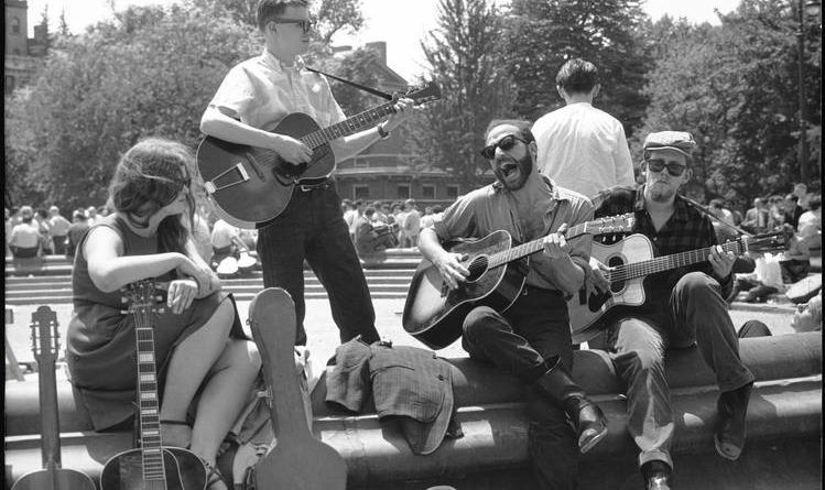 archive photo of friends playing music in Greenwich Village